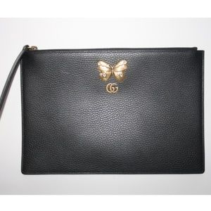 Gucci Butterfly Black Pebbled Leather Pouch